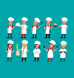 Chef kids happy gourmet children cook delicious vector