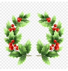 Christmas holly wreath realistic vector