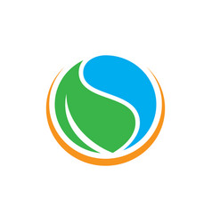circle water leaf logo image vector image