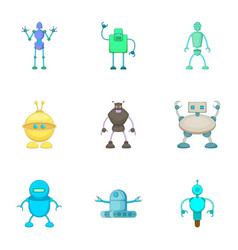 Clever machines icons set cartoon style vector