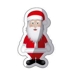 color sticker santa claus icon vector image