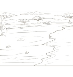 Coloring book African savannah background vector