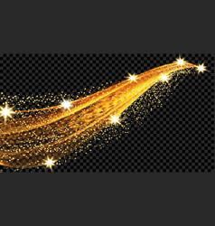 comet meteor trail space ship golden wave vector image