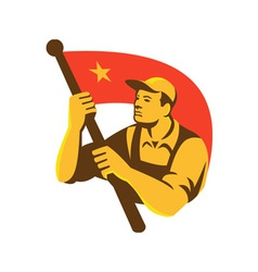 Communist Worker With Red Flag Star Retro vector
