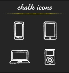 Consumer electronics chalk icons set vector