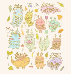 Cute floral monsters template vector