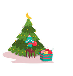 cute mouse decorating fir-tree colorful balls and vector image
