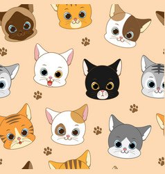 cute smiling cat head seamless pattern vector image