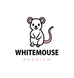 cute white mouse cartoon logo icon vector image