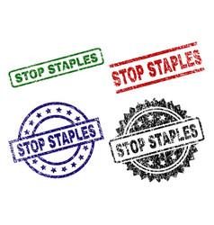 Damaged textured stop staples stamp seals vector