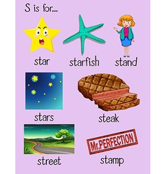 Different words begin with letter S vector image