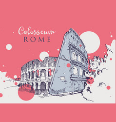 Drawing sketch colosseum vector