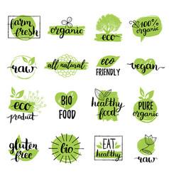 Eco organic bio logos or signs vegan vector