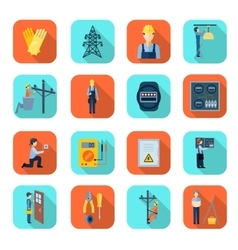 Electricity man professional flat icons collection vector