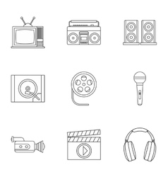 Electronic devices icons set outline style vector