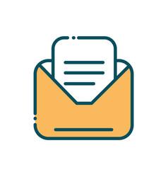 email letter envelope social media line and fill vector image