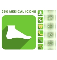 Foot Icon and Medical Longshadow Icon Set vector