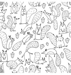 Funny squirrel with nut seamless pattern for your vector