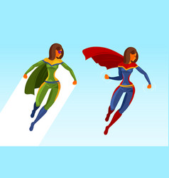 girl superhero or superwoman in flight cartoon vector image