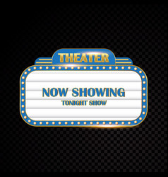 gold brightly theater glowing retro cinema neon vector image
