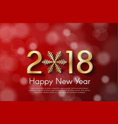 Golden new year 2018 concept on red blurry vector