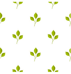 Green cherry leaves pattern seamless vector