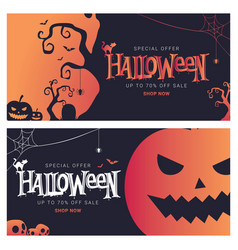 Halloween big sale banner shopping vector