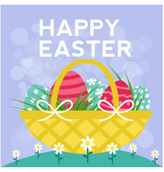happy easter basket eggs blue background im vector image
