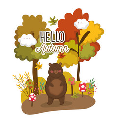 hello autumn season flat design vector image