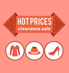 Hot prices clearance sale promo advert on arrow vector