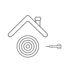 Icon concept bulls eye and dart under roof vector