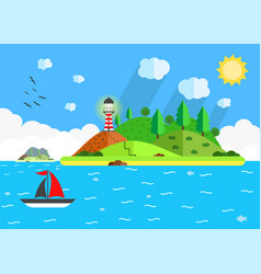 island in the sea with lighthouse hill tree and vector image