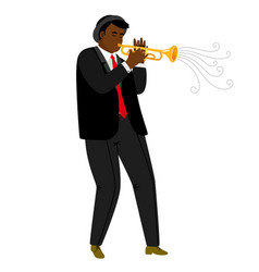 jazz trumpeter playing on concert isolated on vector image