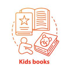 kids books red concept icon children literature vector image