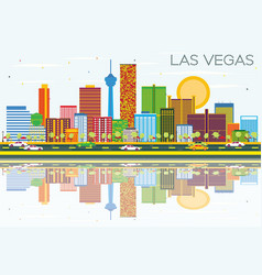 Las vegas skyline with color buildings blue sky vector
