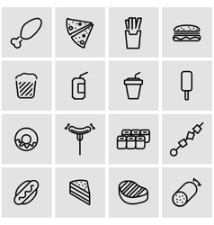 line fastfood icon set vector image