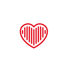 love with full lines or stripes inside icon vector image