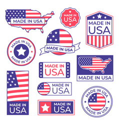made in usa label american flag proud stamp made vector image