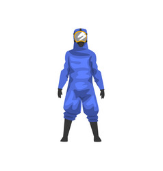 Man in blue protective suit and helmet vector