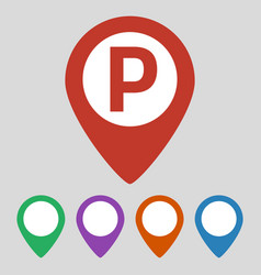 map marker with parking icon vector image
