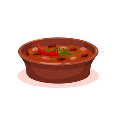 Meat stew with bean in a bowl bulgarian cuisine vector
