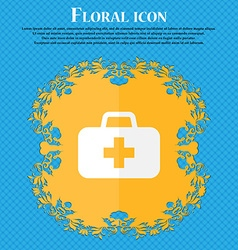 medicine chest Floral flat design on a blue vector image