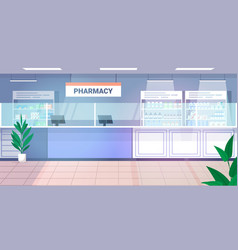 Medicines arranged in shelves empty no people vector