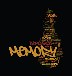 Memory techniques tips text background word cloud vector