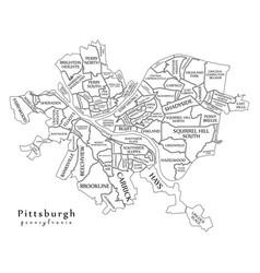 Modern city map - pittsburgh pennsylvania city of vector