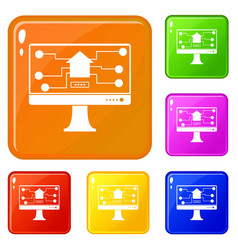 monitor chip icons set color vector image