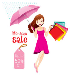 Monsoon sale woman under umbrella jumping vector