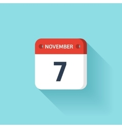 November 7 Isometric Calendar Icon With Shadow vector