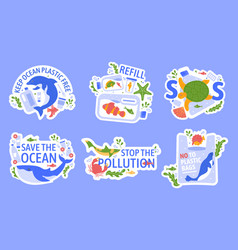 ocean pollution with plastic protecting marine vector image