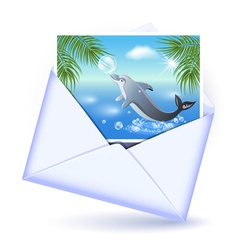 Open envelope and card vector image